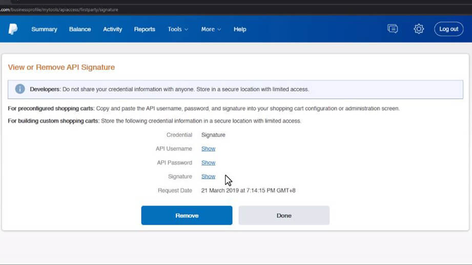 Paypal View or Remove API Signature