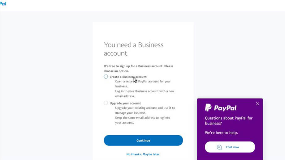 Paypal upgrade to business options