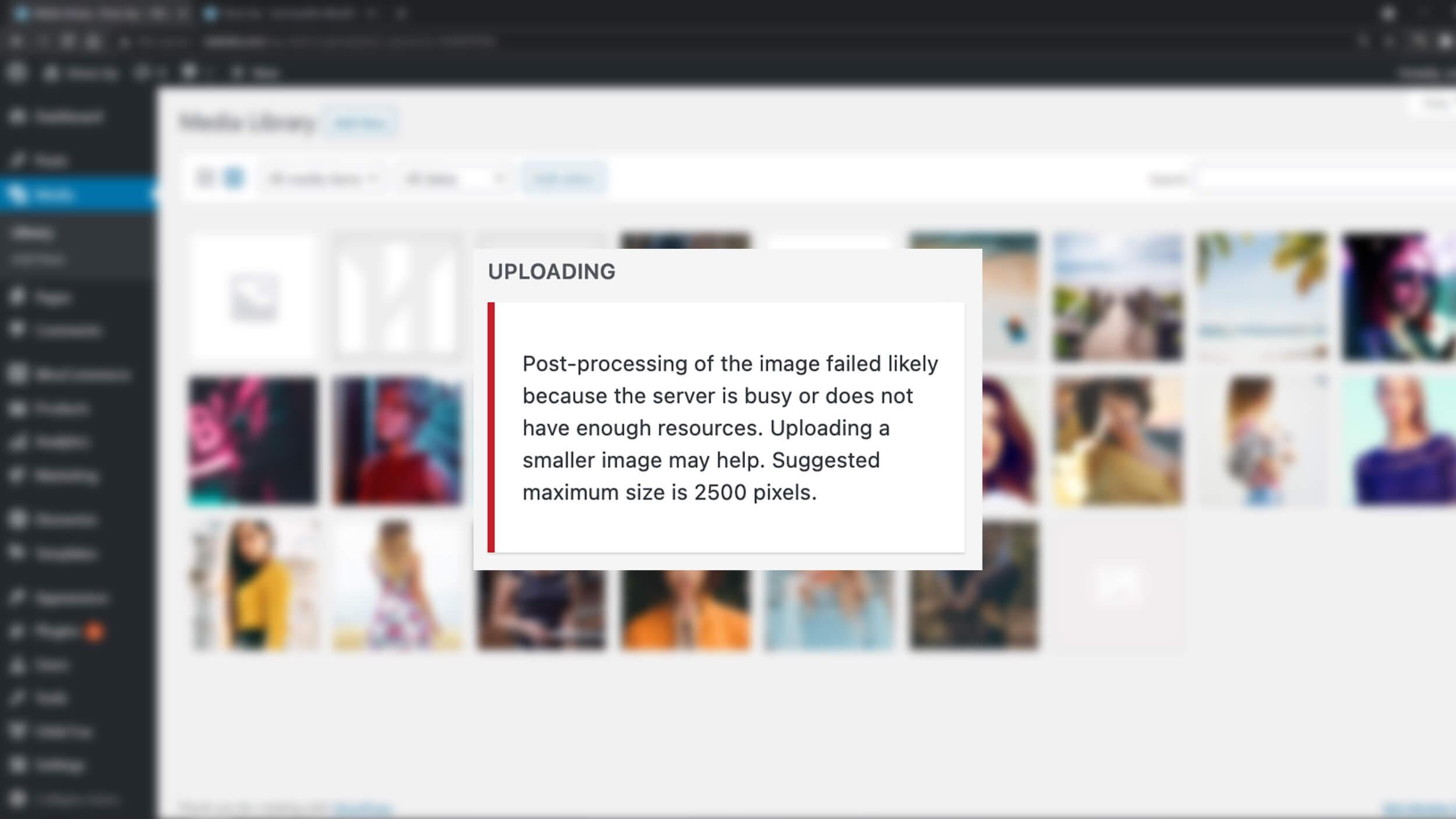 wordpress image upload failed error